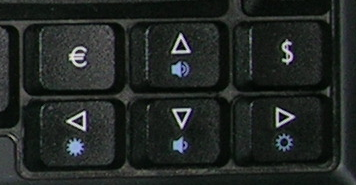 acer arrow keys, € and $ group of keys