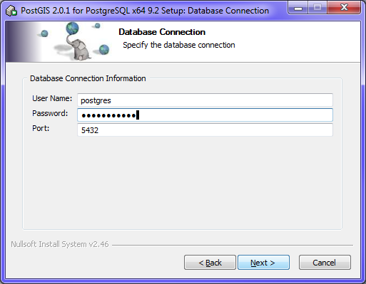 postgis installer wizard on the database connection step